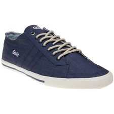 New Mens Gola Blue Quota Chambray Textile Trainers Plimsolls Lace Up