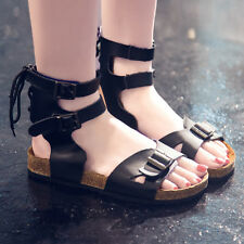 Womens Summer Black Gladiator Sandals Flat Buckle Strap Cross Lace Comfy Shoes
