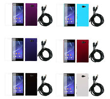 3In1 Hard Rubberized Plastic Cover Case +SP+Cable For Sony Xperia M2 /Dual S50h