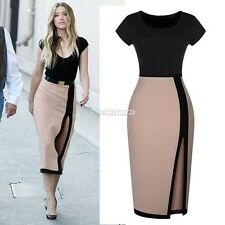 Women's Sexy Open Fork High Waist Pencil Dress Cocktail Party Bodycon Tuni
