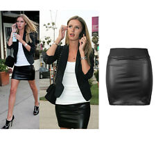 Womens High Waisted Bodycon Faux Leather Casual Look Zip Short Mini Skirt