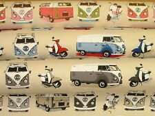 Splitscreen VW Camper Van Designer Cotton Curtain Upholstery Cushion Bed Fabric