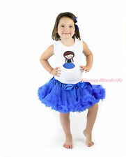 Cartoon Princess Anna Print White Top Royal Blue Pettiskirt Baby Girl Set 1-8Y