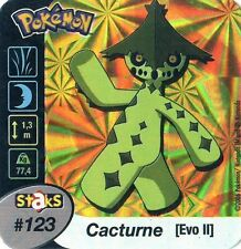 STAKS AIMANT POKEMON PANINI 50X50 N° 123 CACTURNE HOLO