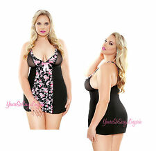 Plus Size Floral CHEMISE BABYDOLL Mini Dress T-BACK G-String BLACK PINK QUEEN
