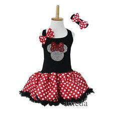 Girls Black Red Polka Dots Minnie Mouse Rhinestone Pettiskirt Tutu Party Dress