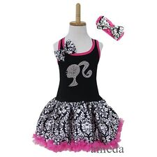 Girls Black Hot Pink Damask Rhinestone Bling Doll Pettiskirt Tutu Party Dress
