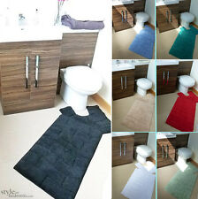 Luxury Cotton Chenille Washable 2 Piece Bath Mat & Pedestal Mat Set / Bath Rug
