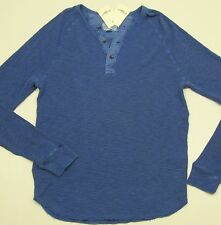 LUCKY BRAND Men's Blue Cotton LS Thermal Henley Shirt - NEW NWT