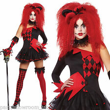 Ladies Halloween Red Harlequin Jester Clown Fancy Dress Costume + Hat + Tights