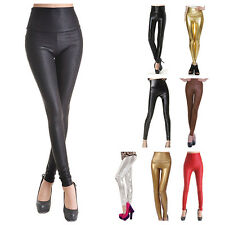 Lady Sexy High Waist/Waisted Stretchy Faux Leather Wet Look Tight Leggings/Pants