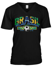 Brasil Play Hard 2014 Brazil Soccer Ball Football Futebol Mens V-neck T-shirt