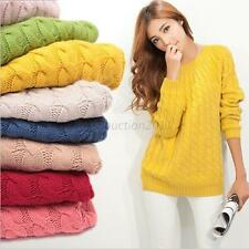 Womens Korean Crew Neck Sweater Knit Pullover Leisure Loose Coat Tops Knitwears