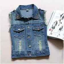 Women Punk Frayed Denim Jean Vest Waistcoat Slim Sleeveless Jacket Rivet New xp