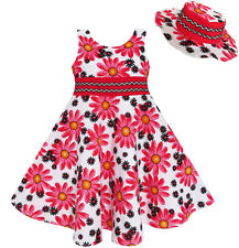 2 Pecs Girls Dress Hat Flower Summer Party Holiday Princess Child 4-12 New