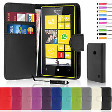 Flip Leather Wallet Case Cover For Nokia Lumia 520 Free Screen Protector