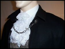 BLACK 100% WOOL Victorian Gentleman's 32 inch Long Cape Chain Closure Mens Cloak