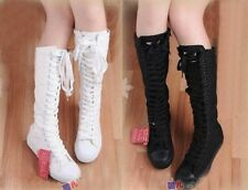 Womens Canvas Sneakers Punk Flat Colorful Lace Up Shoes Knee High Boots Tall