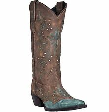 LADIES LAREDO BROWN AND TURQUOISE CROSS POINT COWBOY BOOTS! STYLE 52032! NIB!