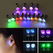 2 PCS Fashion Light Up LED Bling Earrings Ear Studs Dance Party Accessories Gift
