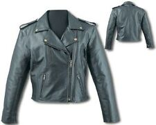 Womens Black Leather Motorcycle Biker Jacket Zip out lining Double Zip