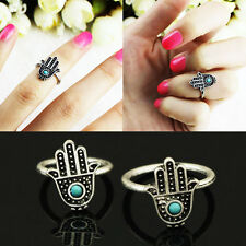 Chic Alloy Hand Of Fatima Lucky Hamsa Hand Ring Evil Eye Ring For Protection