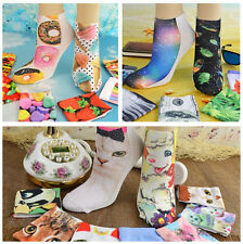 Colorful Girls Womens Cute Cats Fish Floral Pattern Ankle Short Socks Free Size