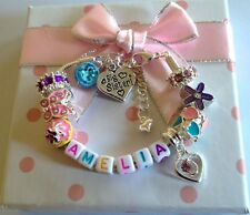Personalised girls ANY NAME big sister daughter niece choose charm barcelet gift