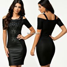 Women Sexy Fashion Slim Leather Lace Bodycon Party Cocktail Club Evening Dress V