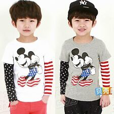 Cartoon Mickey Mouse Stripes Stars Long Sleeve Baby Boys Kids T-shirt Tops Tee