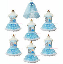 ELSA THEME Birthday Number Blue Snowflakes Baby Girl Halter Dress Cape Set 1-8Y