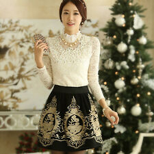 1PC Floral Printing Skirt Organza Mesh Glitter Embroidery Short Dress Fabulous
