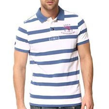 Canterbury Rugby Men's Coastal Blue Warbrick Striped Polo Shirt (E542790) rp£60
