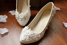 White Women Closed Toe Low Heel Flowers Diamond Bridal Lace Wedding Shoes