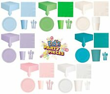 PARTY TABLEWARE - Plates/Cups/Napkins/Tablecovers/Bags/Balloons - 7 Colours