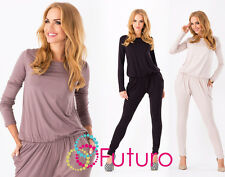 ☼ Sexy Women's Jumpsuit ☼ Boat Neck Long Sleeve Party Playsuit Sizes 8-18 1065