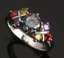 Rainbow Multicolor Topaz Gemstones Silver CLASSY Rings US#Size5 6 7 8 9 T0088