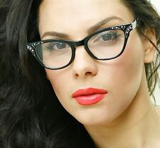 50's Retro Vintage Cat Eye Womens Black Frame Deco & Rinestones Eyeglasses