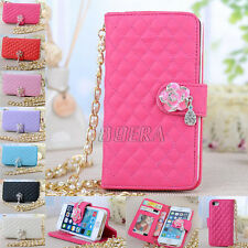 Metal + Pearl Chain Diamond Leather Handbag Purse Wallet Case for iPhone 5 5G 5S