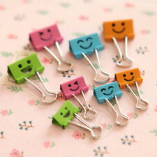 40Pcs Smile Hollow Metal Color Binder Clips Stationery Office Supplies 19mm