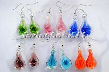 FREE wholesale lots bulk Retail Drop Flower glass silver Plated earrings jewelry