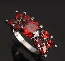 Fashion Jewelry ARCHAIZE Garnet Gemstones Silver Rings US#Size5 6 7 8 9 T0084
