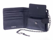 Mens/Boys Leather Wallet with Coin Holder and Chain. Black, Brown