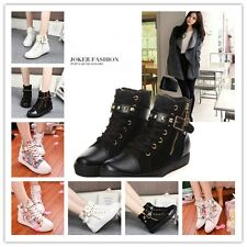 LADY CANVAS ANKLE SCHOOL BOOTS ZIPPER BUCKLE RIVET SNEAKERS TRAINING PUMPS NEW S