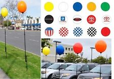 Reusable Balloon & 5'+ Pole Kit No Helium Needed Yellow Gold Green Red  U Pick