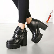 Womens Punk Cleated Sole Boots Platform Chunky Heels Pump Buckles Ankle Booties