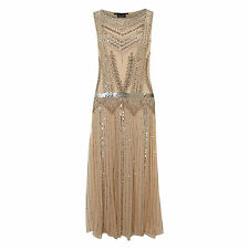 BEIGE NUDE ART DECO FLAPPER GATSBY CHARLESTON DRESS 8 - 18 GOWN