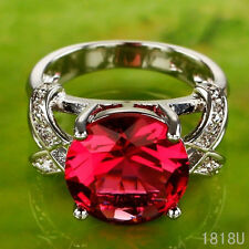 Hot sell Round Cut Ruby Gemstones Silver Ring Size 6 7 8 9 Wedding Jewelry Party