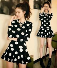 Chic Crew Neck Long Sleeve Polka Dot Flouncy Hem Women A Line Mini Dress New Hot