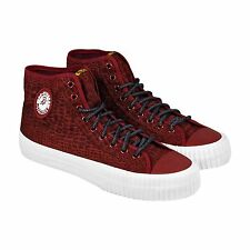 PF Flyers Mens Center Hi Animal Burgundy  Canvas High Top Lace Up Sneakers Shoes